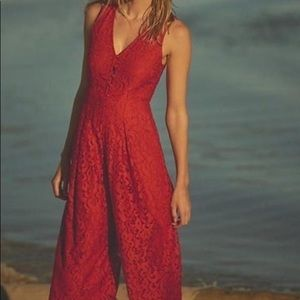 Anthropologie red lace jumpsuit holiday dress